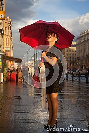 Under red umbrella