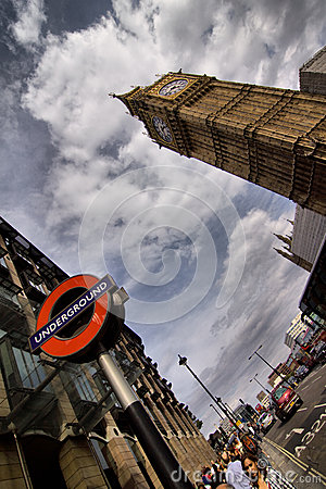 Underground and Big Ben in London Editorial Stock Photo