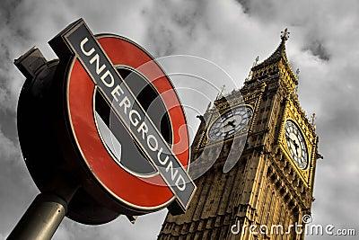 Underground and Big Ben in London Editorial Photo
