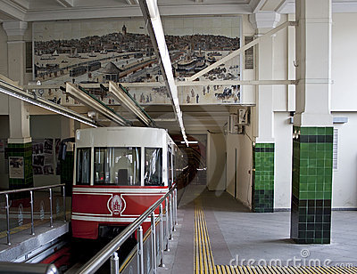 Underground funicular in Istanbul, raw Editorial Photo