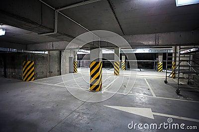 Underground Garage under building, parking lot