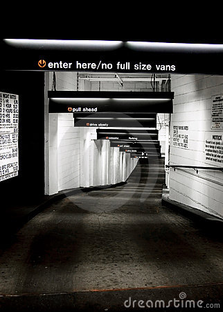 Underground parking garage entry