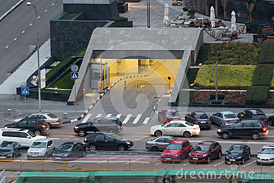 Underground parking in a skyscraper Capital City Editorial Stock Image