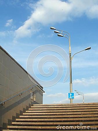 Underground passage steps