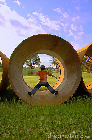 Free Underground Pipes & Boy Royalty Free Stock Photography - 2014387