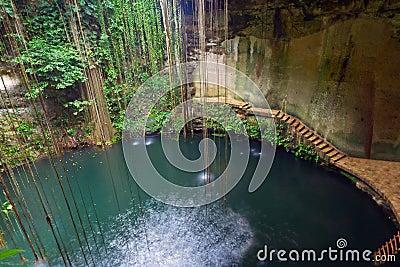 Underground pool Ik-Kil Cenote in Mexico