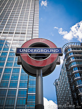Underground sign, Canary Wharf Editorial Photography