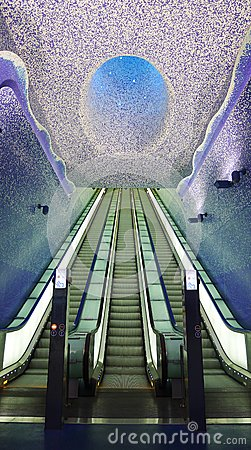 Underground staircase, Toledo station, Naples Editorial Stock Image