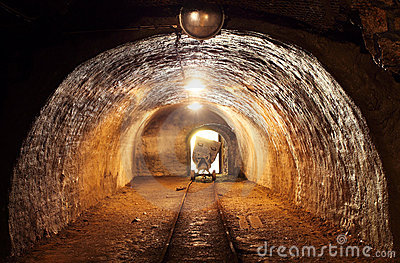 Underground train in mine.