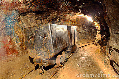 Underground train in mine.