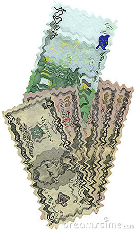 Underwater different dollars, euros isolated,