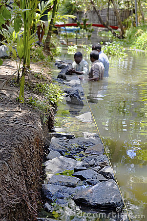 Underwater dry stone walling Kerala India Editorial Photo