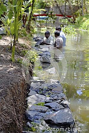 Underwater dry stone walling Kerala India Editorial Photo