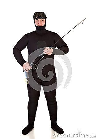 Underwater hunter man