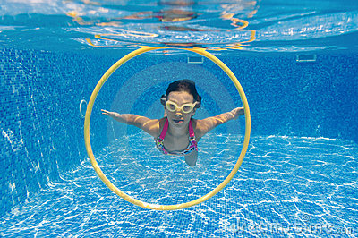 Underwater kid in swimming pool