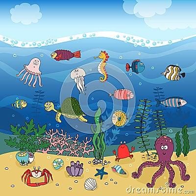 Underwater Ocean Life Under The Waves Stock Vector Image