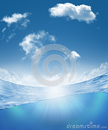 Free Underwater Part And Skylight Splitted By Waterline Stock Photos - 26623093