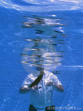 Underwater photograph of a business man