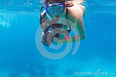 Underwater photographer with the camera