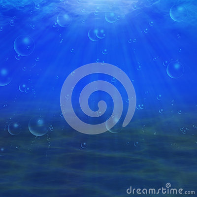 Abstract underwater background with sandy bottom and sun rays