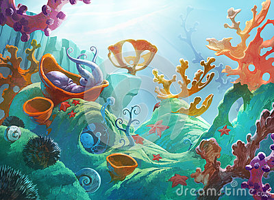 underwater scene with coral reef stock illustration clipart octapus clip art octopus outline free