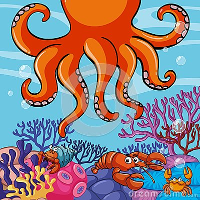Free Underwater Scene With Giant Octopus And Crabs Royalty Free Stock Photography - 101224987