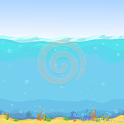 Underwater Seamless Landscape, Cartoon Background For Game ...