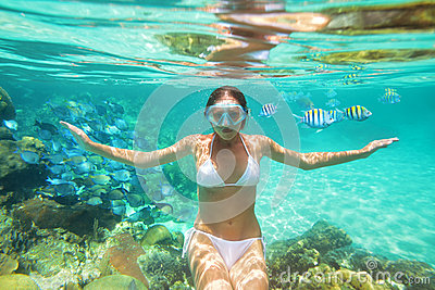 Underwater shoot a girl in bikini on background of coral reef
