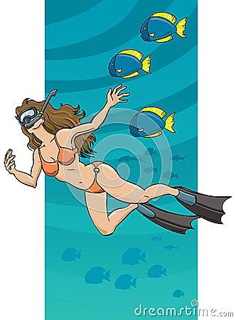Underwater Swimming Woman