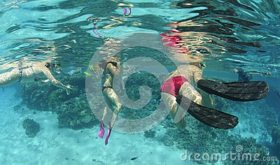 Underwater view of snorkelers in clear water.