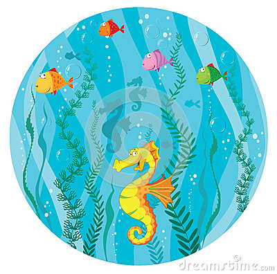 Underwater world in circle