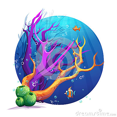Underwater world with corals and fish fun
