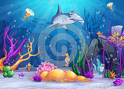 Underwater world with a funny fish and hammerhead shark