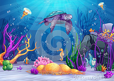 Underwater world with a funny fish and turtle