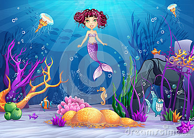 Underwater world with a mermaid with pink hair