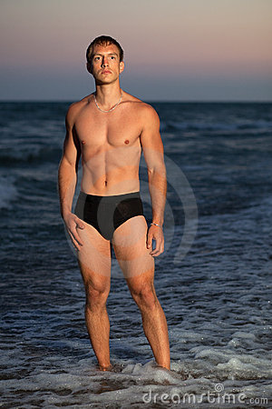 Underwear Model on Beach