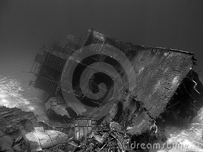 Undwerwater Shipwreck in Black and White