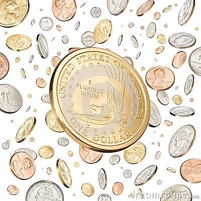 Une chute de pièce de monnaie du dollar