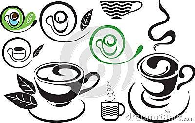 Une cuvette de thé. Signe. Le noir et blanc stylisé