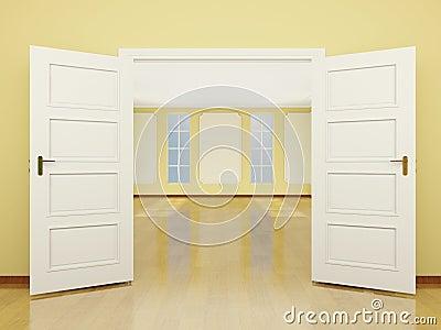 Une entr e grande ouverte de porte au salon dans le style for Porte ouverte patrouille de france salon
