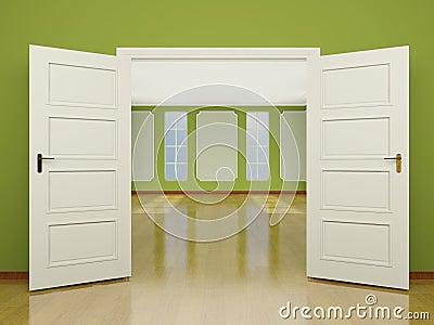 Une entr e grande ouverte de porte au salon dans le style for Porte ouverte salon