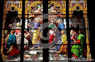 Illustration en verre souillé de St Peter