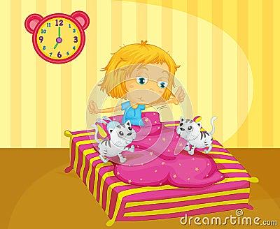 Une fille se r veillant au lit avec deux chatons photos libres de droits image 32709758 - Rendre folle une femme au lit ...