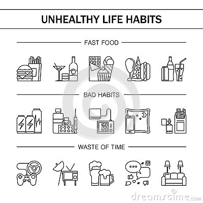 Unealthy lifestyle habits black and white line vector icons isolated. Fast junk food cola hanburger pizza. Bag habit Vector Illustration