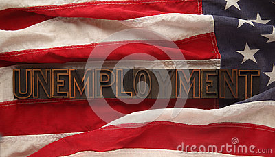 Unemployment word on American flag