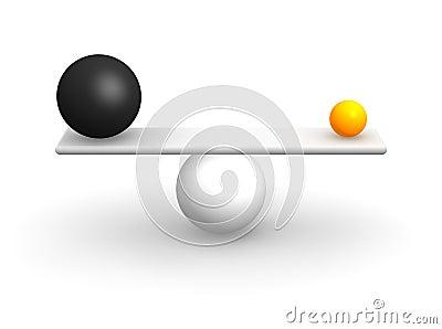 Uneven balls in balance