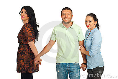 Unfaithful man between two women