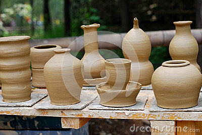 Unfinished pottery products.