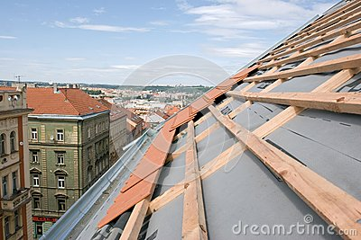Unfinished Roof of a Building in Urban Landscape