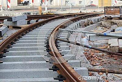 Unfinished tramway railway